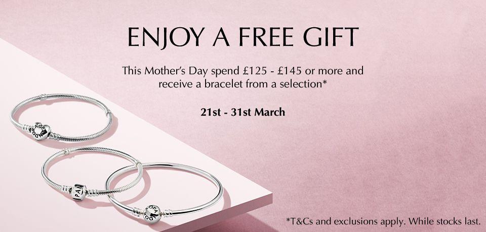 9e052f1b3 Spend £145 and get a free Pandora Rose clasp bracelet.